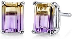 14 Karat White Gold Emerald Cut 2.00 Carats Ametrine Stud Earrings