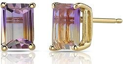 14K Yellow Gold Emerald Cut 2.00 Carats Ametrine Stud Earrings