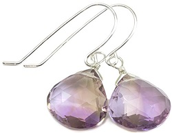 Sterling Silver Ametrine Earrings Heart Shaped Faceted Briolette Teardrops Purple Yellow