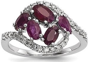 14k White Gold Diamond Red Ruby Band Ring Gemstone