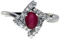 0.59 Carat ctw 14k Gold Round Red Ruby Solitaire & Diamond Square Halo Fashion Promise Ring