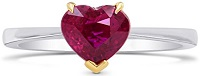 1.43Cts Ruby Gemstone Engagement Solitaire Ring Set in 18K White Yellow Gold