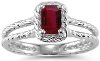 0.55 Cts of 6x4 mm AA Emerald Ruby Solitaire Ring in 14K White Gold