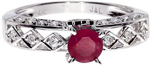 0.97 Carat ctw 14k Gold Round Red Ruby Solitaire & Diamond Infinity Twisting Fashion Promise Ring
