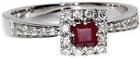 0.66 Carat ctw 14k Gold Square Red Ruby Solitaire & Diamond Square Halo Fashion Promise Ring
