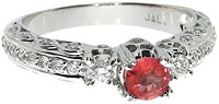 0.96 Carat ctw 14k Gold Round Red Ruby Solitaire & Diamond Accent Antique Promise Engagement Ring