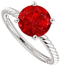 Natural Ruby Solitaire Designer Rope Ring White Gold