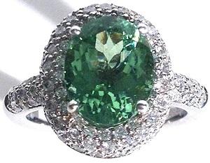 3.75 TCW Oval Lime-Mint Green Tourmaline & Diamond 14k White Gold Cocktail Ring