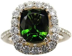 3.59 Carat Chrome Tourmaline & Diamond 14k Yellow Gold Ring
