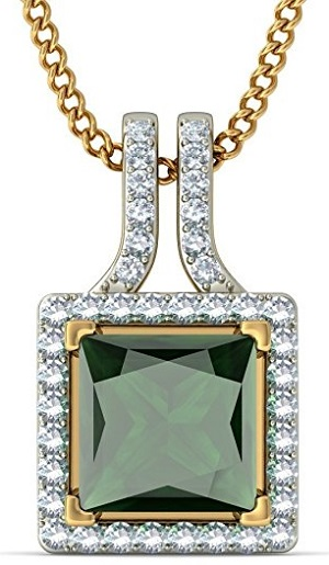 14K Yellow Gold (HallMarked) 0.56cttw Round-Cut-Diamond and Green Tourmaline Pendant