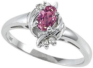 Tommaso Design 10k White Gold Oval bypass Engagement Promise Ring