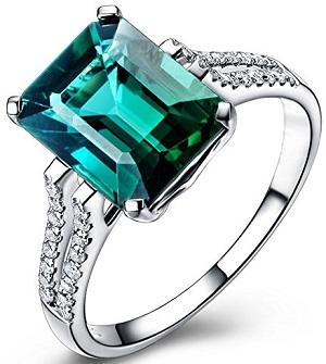 Green Tourmaline Prong Set Eternity Diamond Anniversary Wedding Ring Band for Women 14K White Gold