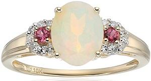 10k Yellow Gold Ethiopian Opal, Pink Tourmaline and Diamond 3-Stone Engagement Ring