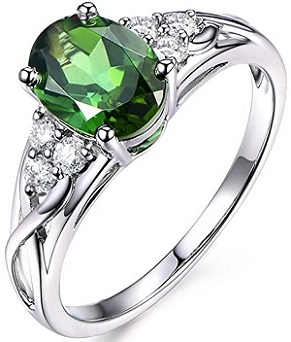 Unique Women's Jewelry Solid 14K White Gold Natural Green Tourmaline Diamond Engagement Band Ring