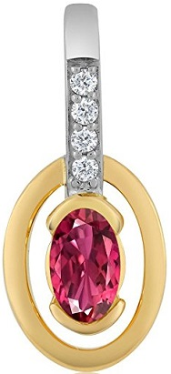 18K Yellow Gold Women's 0.26 Ct Oval Pink Tourmaline AAA and Diamond Pendant With Chain