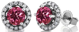14K White Gold Diamond Halo Earrings set with Round Pink Tourmalines