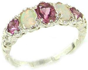 14k White Gold Natural Pink Tourmaline and Opal Womens Band Ring