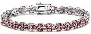 15.00 Carat (ctw) Sterling Silver Real Oval Cut Genuine Tourmaline Ladies Tennis Bracelet