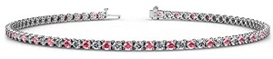 Pink Tourmaline and Diamond (SI2-I1, G-H) 2mm 3-Prong Tennis Bracelet 1.56 cttw in 14K White Gold