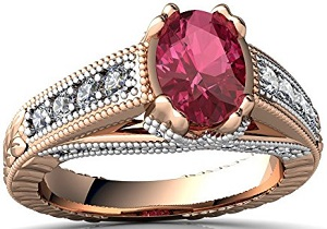 14kt Gold Pink Gemstone Tourmaline and Diamond 7x5mm Oval Antique Style Ring