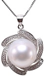 Sterling Silver 13.5mm White South Sea Pearl Pendant Neckalce