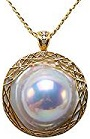 18K Super-size 35mm White Mabe Pearl Pendant Necklace