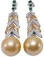 18K Gold & Diamond Huge 16mm Golden South Sea Pearl Earrings