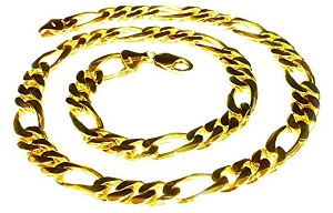 14Kt Solid Gold Handmade Figaro Curb Link Mens Chain/Necklace 26