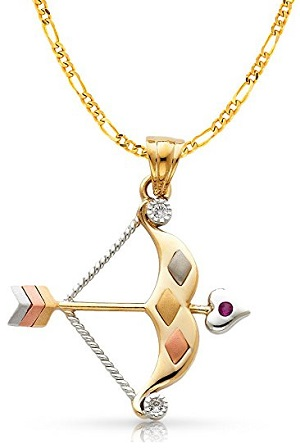 14K Tri Color Gold Cubic Zirconia CZ Bow & Arrow Charm Pendant with 3.8mm Figaro Necklace