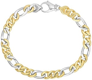14k 8.5 In Yellow and White Gold 6mm Soft Shiny Figaro Style Chain Bracelet With Lobster Clasp